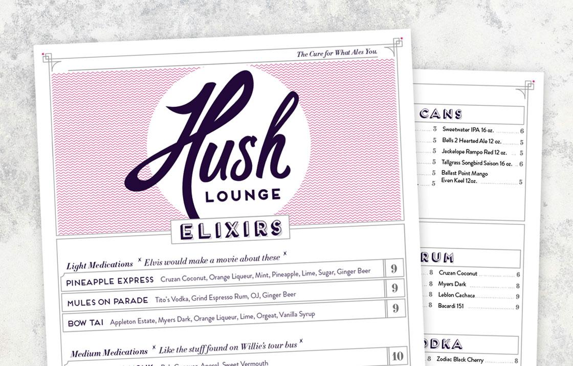 Hush Lounge - Print Design, Menu Design