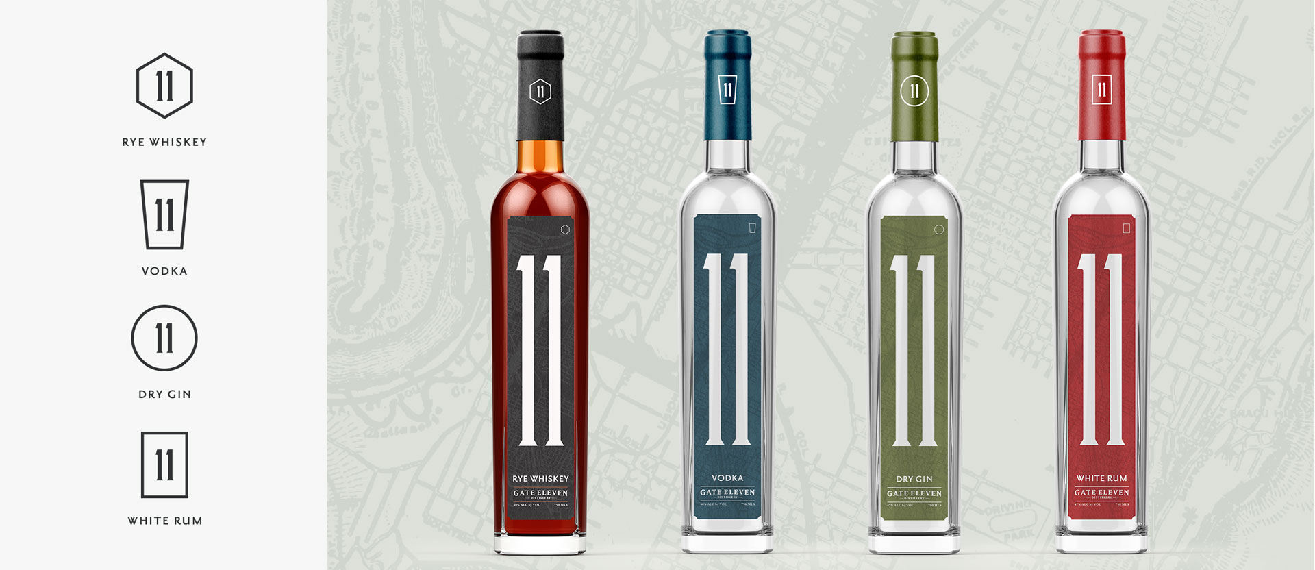 Gate 11 Distillery - Branding, Print Design, Packaging