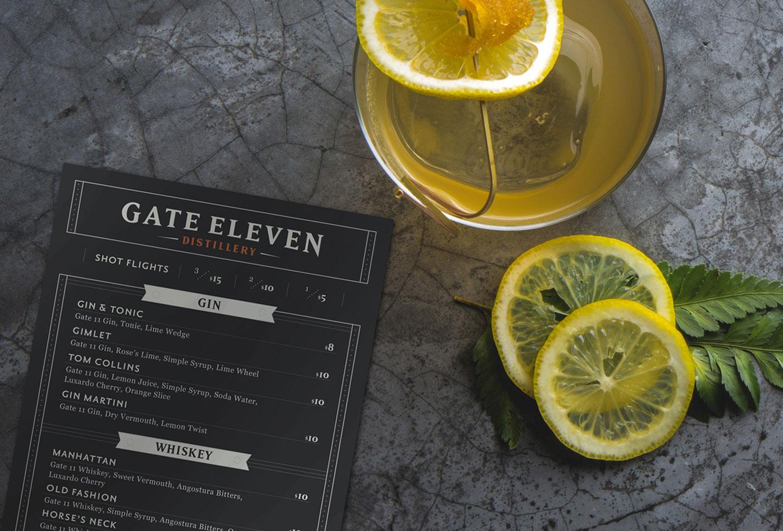 Gate 11 Distillery - Branding, Print Design, Menu Design